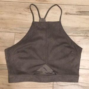 Kendall & Kylie grey suede crop top